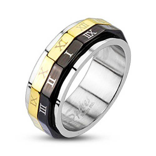 316L Stainless Steel Black & Gold IP Roman Numeral Dual Spinner Ring West Coast Jewelry. $7.95