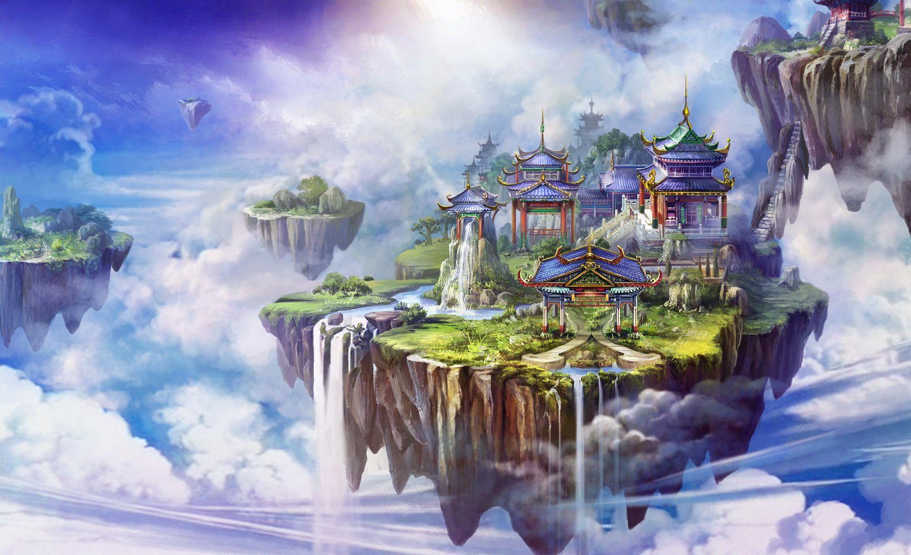 Chinese xianxia fantasy landscape painting fantasy