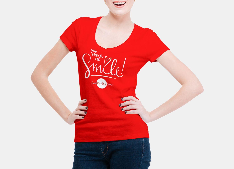 Download Free Smiling Woman Wearing V Shape T Shirt Mockup Psd 2018 Shirt Mockup V Shape T Shirt Free Logo Mockup