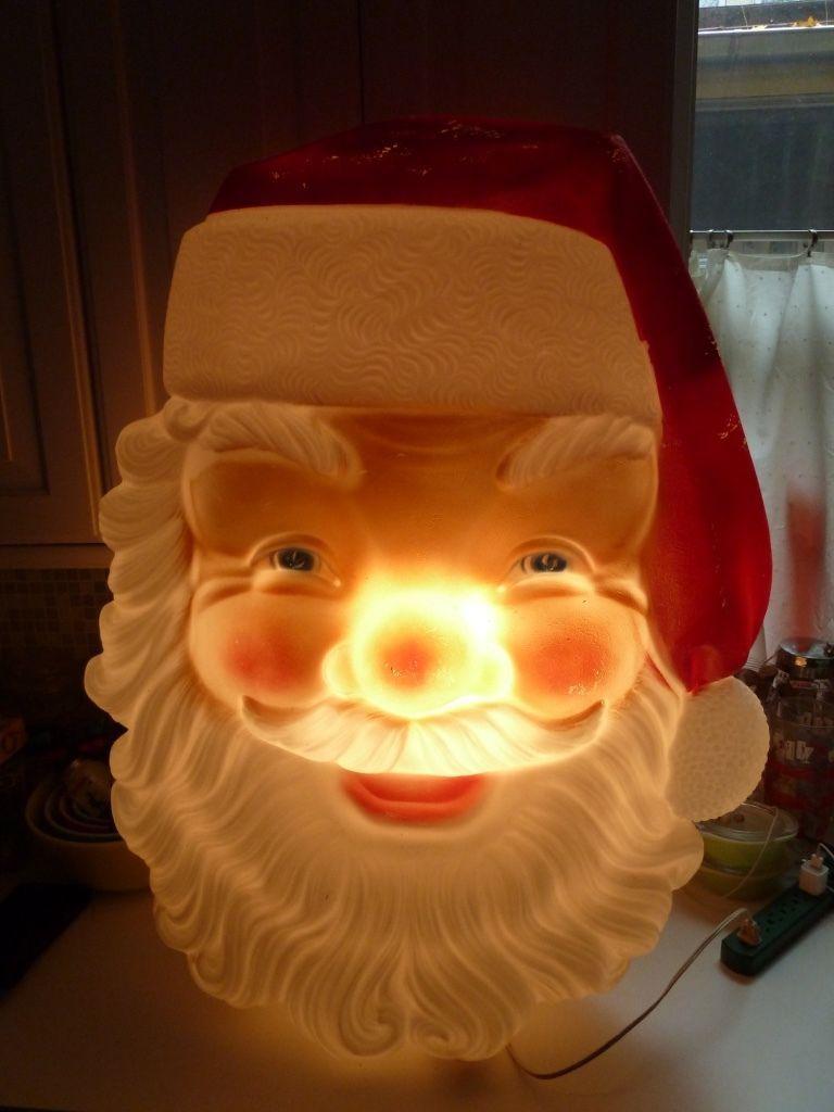 Large Vtg Lighted Blow Mold Light Up Christmas Santa Head