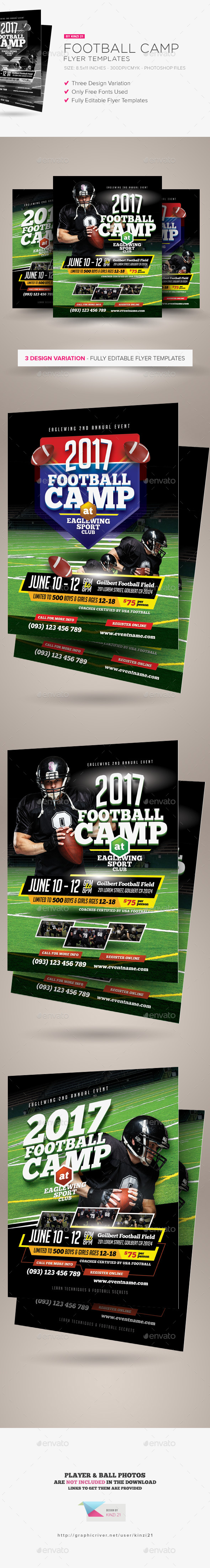 Football Camp Flyer Templates  Flyer Template Template And Graphics