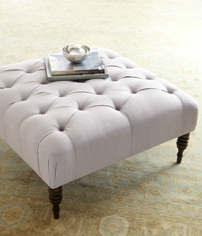 I like the tufted footstool coffee table mom used to upholster I