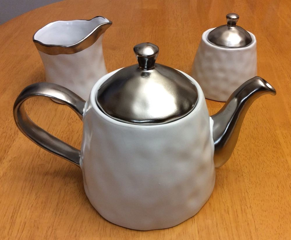 Teapot With Milk And Sugar Dish. Nicole Miller. White Silver. New. & Teapot With Milk And Sugar Dish. Nicole Miller. White Silver. New ...