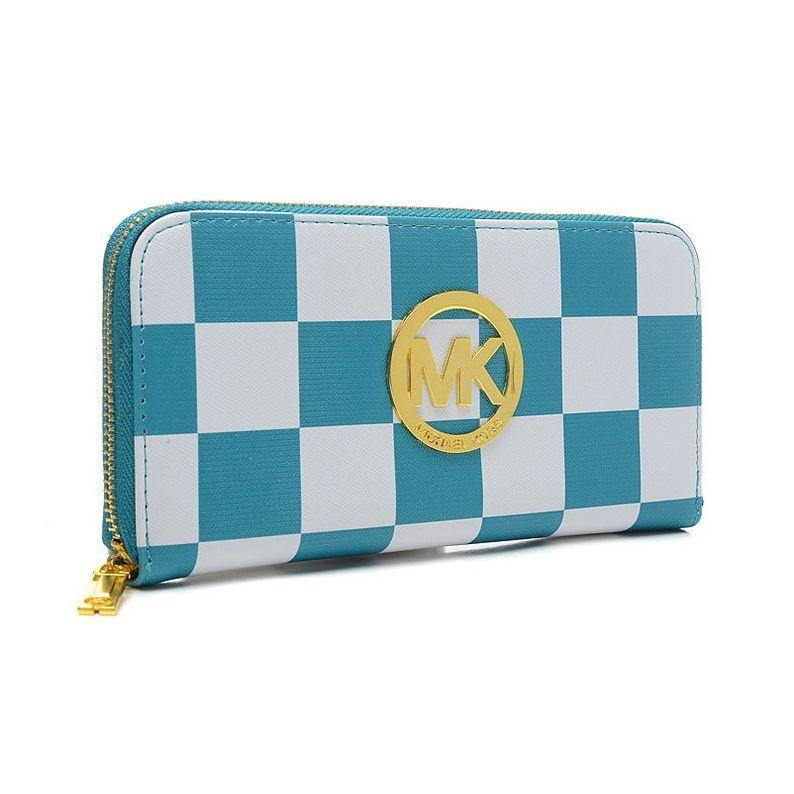 Michael kors checkerboard large blue wallets blue wallet
