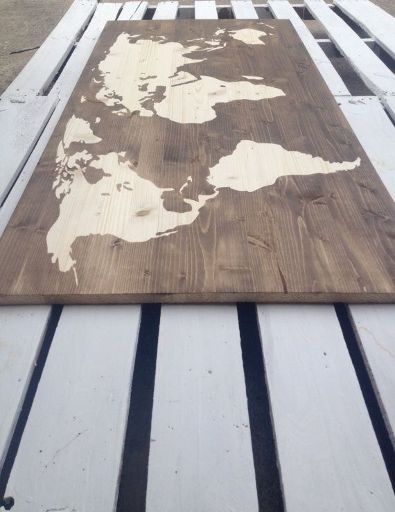 Wood Stained World Map office Pinterest