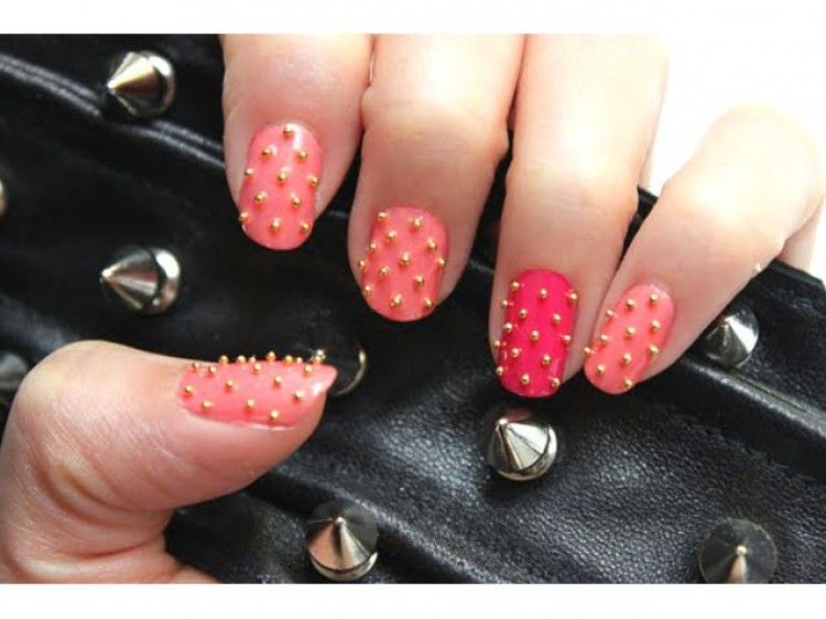Love how she used gold microbeads to make pretty studded nails!