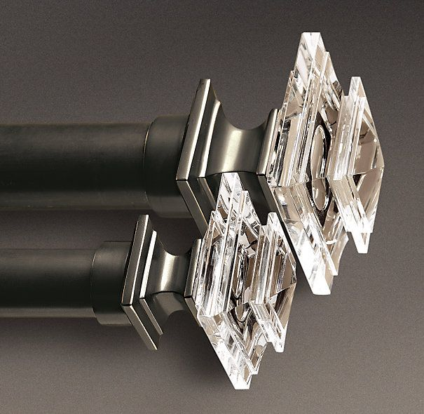 Estate Crystal Square Finials Set Of 2 Oil Rubbed Bronze