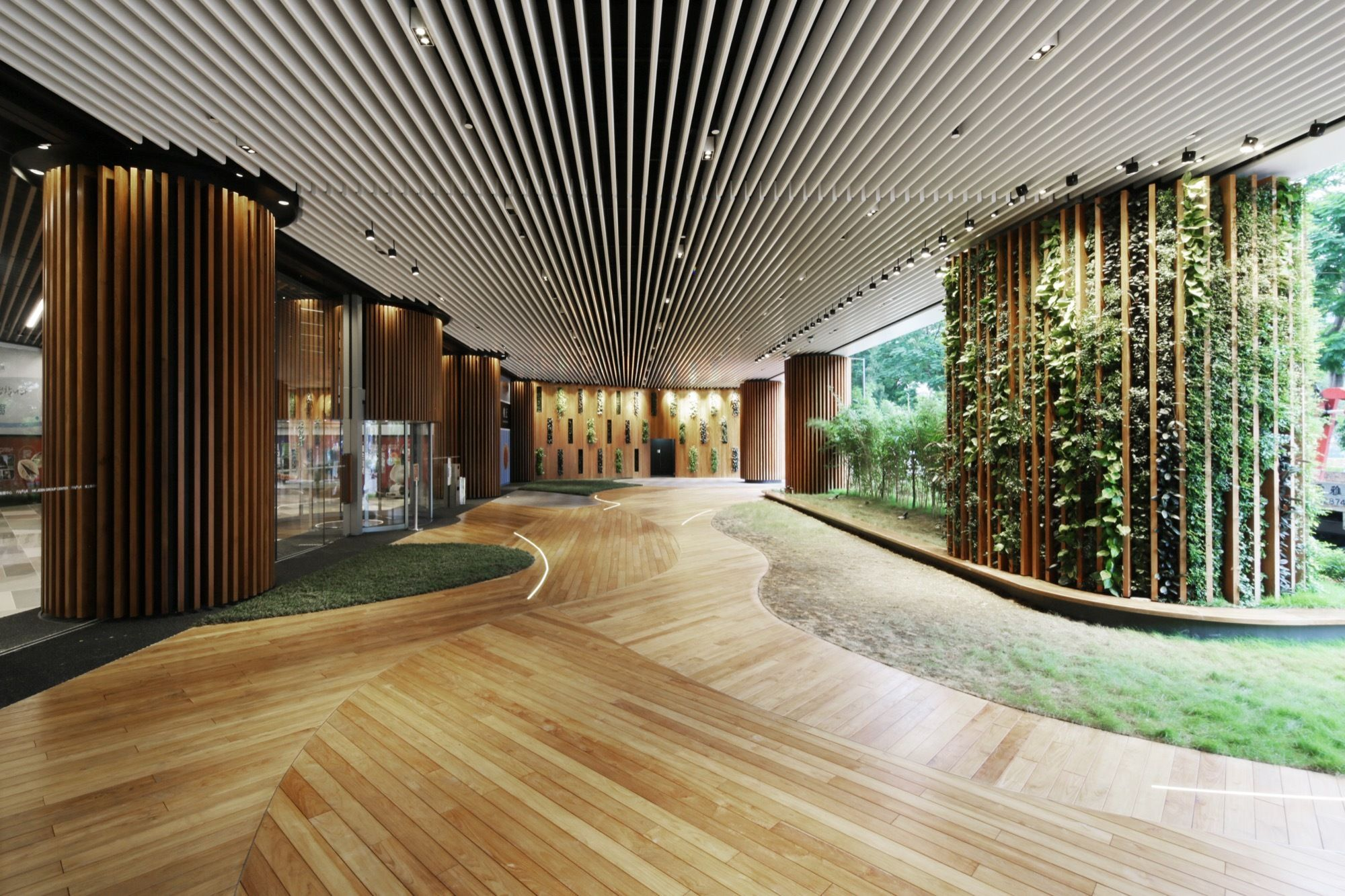 Office lobby interior meyer design inc - Yuqiang Partners Revamp Happyland S Sales Office With Origami Like Fa Ade Architect Interior Exterior Pinterest Traditional Sitting Area And Spaces