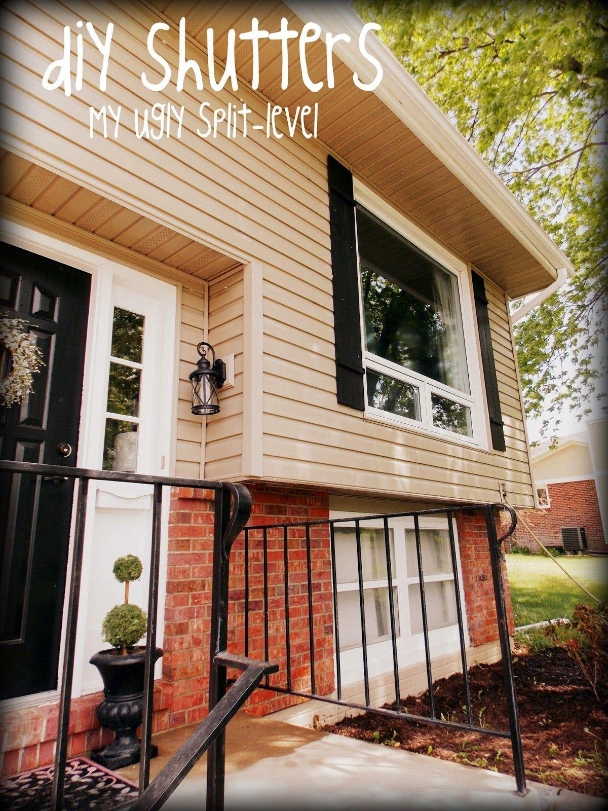 My Ugly Split level Split Level Exterior Bi Level Homes Diy Shutters