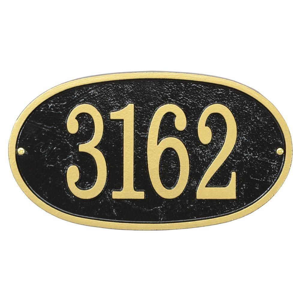 Black//Gold Whitehall Products Fast and Easy Arch House Number Plaque