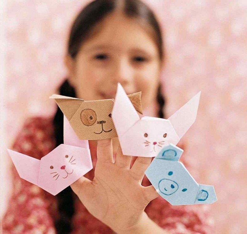 origami fingerpuppen tiere aus papier falten falten. Black Bedroom Furniture Sets. Home Design Ideas