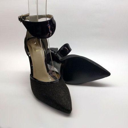 ebb03f0bf2 Sapato Scarpin Salto Alto com Tornozeleira Lona Brilho Preto-Verniz ...