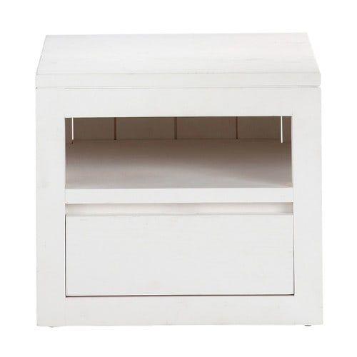 Side Table Met Lade.Wit Massief Houten Nachtkastje Met Lade B 40 Cm Solid Wood