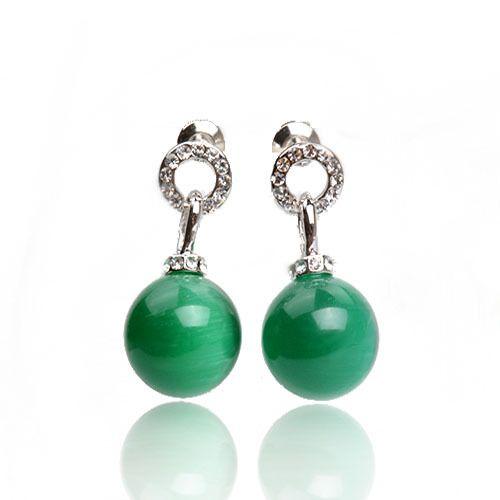 9b3c5c015 KCALOE Green Opal Stud Earrings Hollow Round Austrian Crystal Rhinestone  Silver Color Natural Green Stone Ball