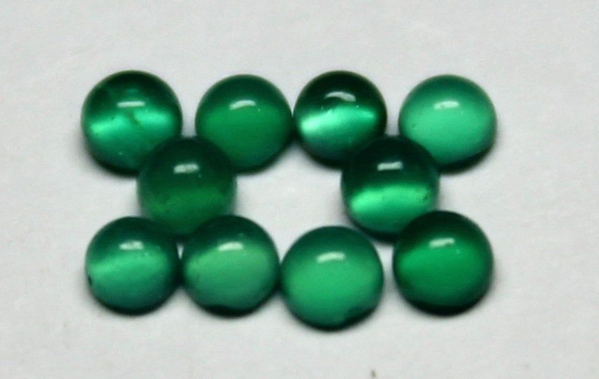 10 Pieces Natural Green Onyx round shape smooth cabochon gemstone