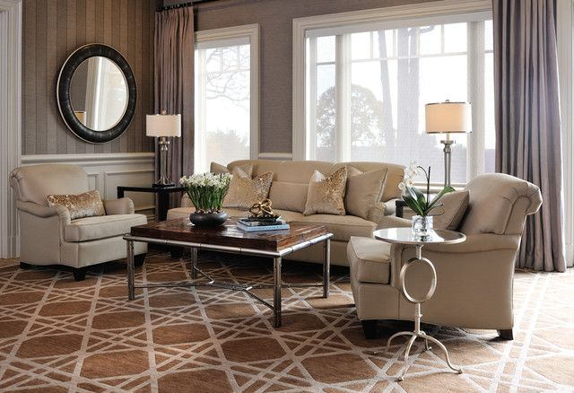 Transitional Living Room in the Old Westbury Golf & Country Club