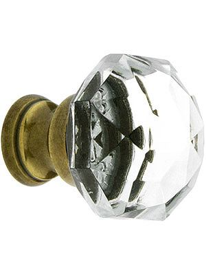 glass drawer knobs diamond cut crystal cabinet knob with brass