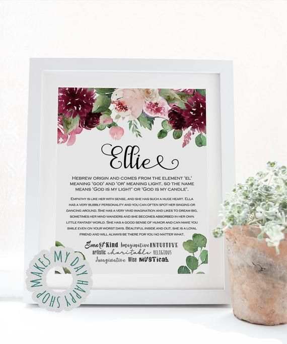Ellie Name Meaningpersonalized Name Wall Artprintable Etsy Nursery Room Decor Girl Name Wall Art Girl Nursery Room