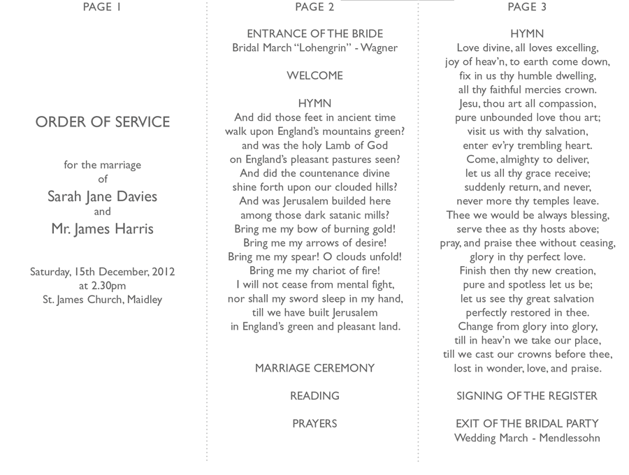 Wedding Order Of Service Uk Wording Google Search