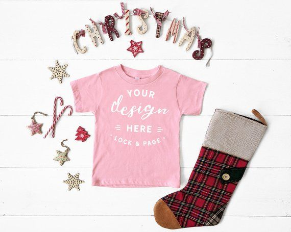 f3d58819f Pink Bella Canvas 3001T Toddler T-Shirt Christmas Mockup Unisex Kids  Festive Xmas Mockup With