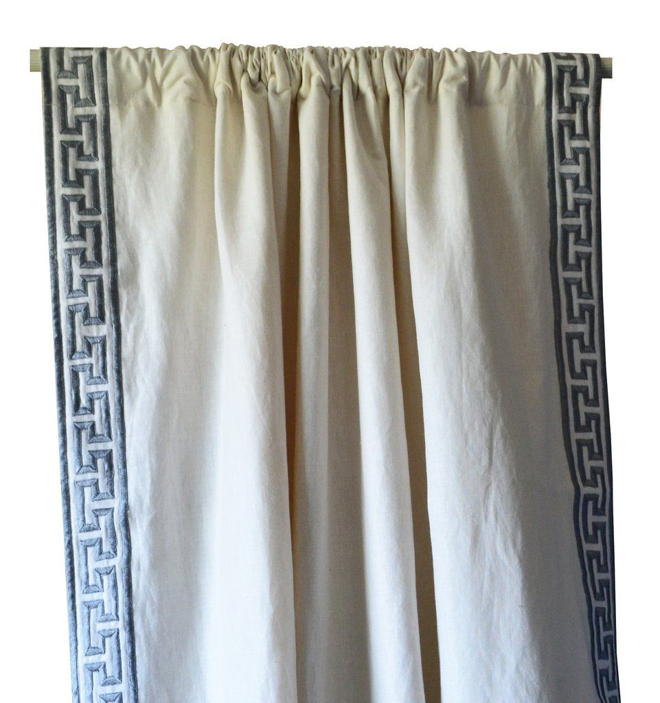 Ivory Linen Curtain With Gray Greek Key Embroidery On Either Side