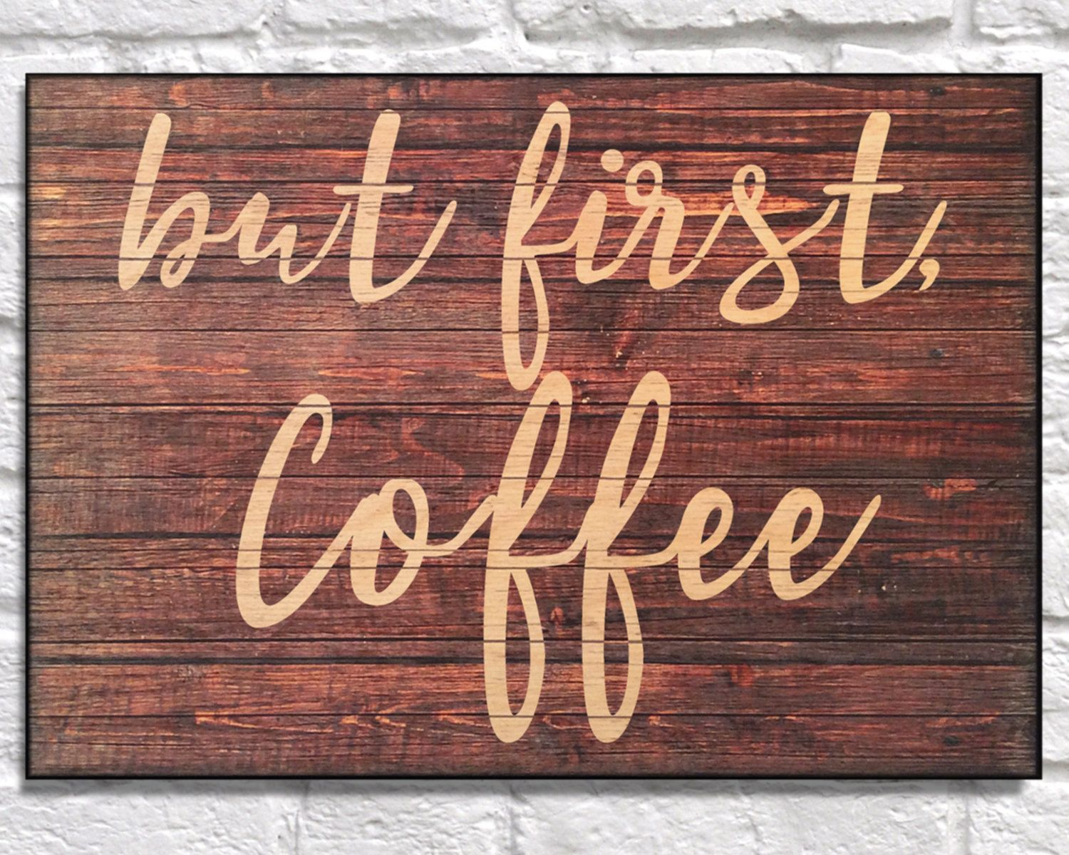 But first coffee sign wood art Typography Kitchen Wood wall art Birthday gift for Husband Christmas Gift for her Panel effect wood print by Woodprintz on Etsy