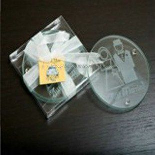 Bride And Groom Glass Coaster Set Of