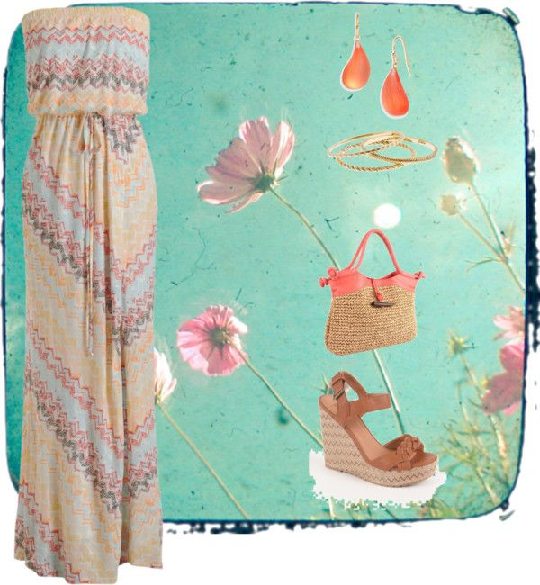 """""""Summer Maxi Dress"""" by fahrab on Polyvore. Coral, maxi dress, summer."""