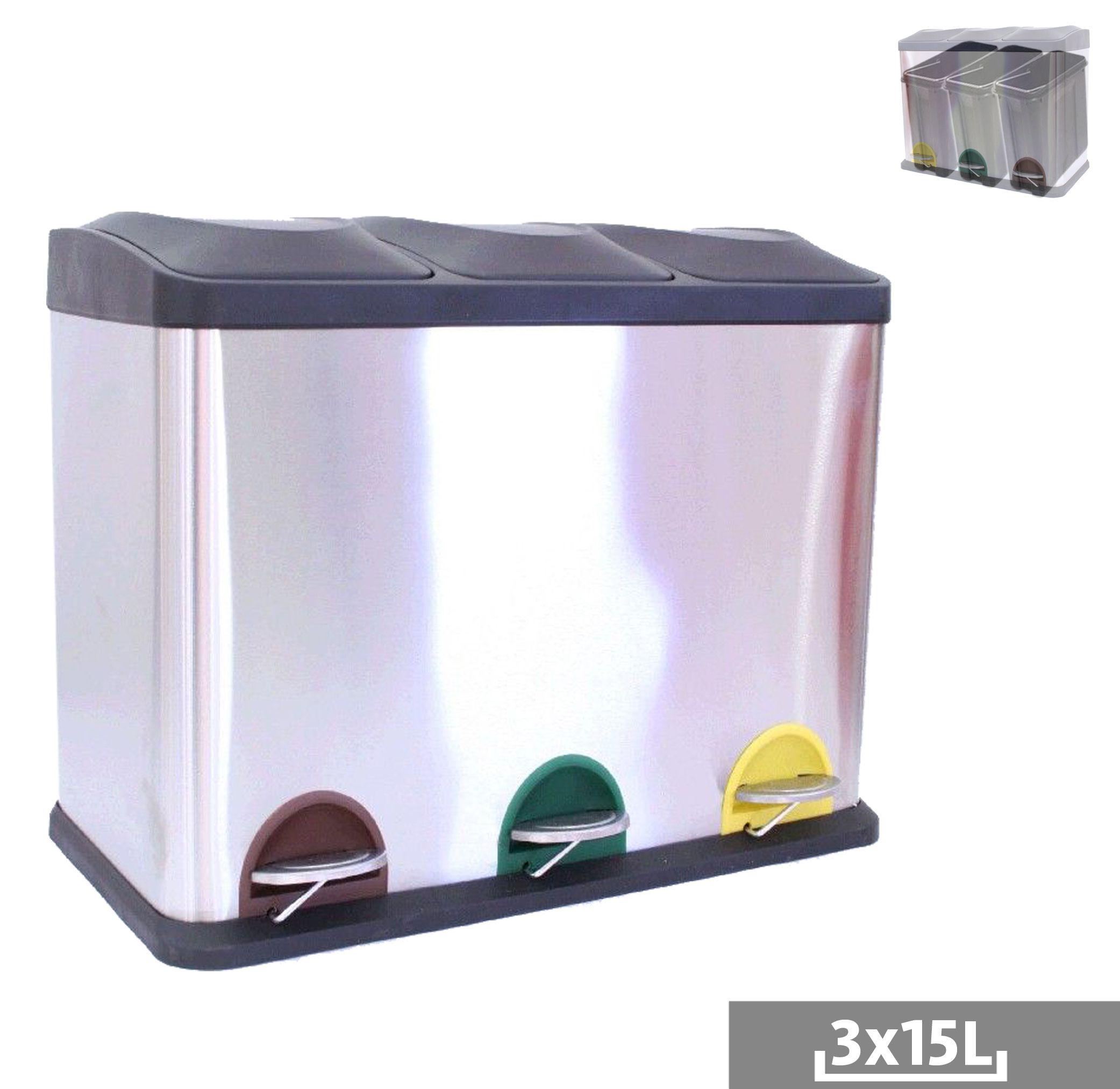 Cubo de basura reciclaje 3 departamentos cocina pinterest - Cubo de reciclaje ...