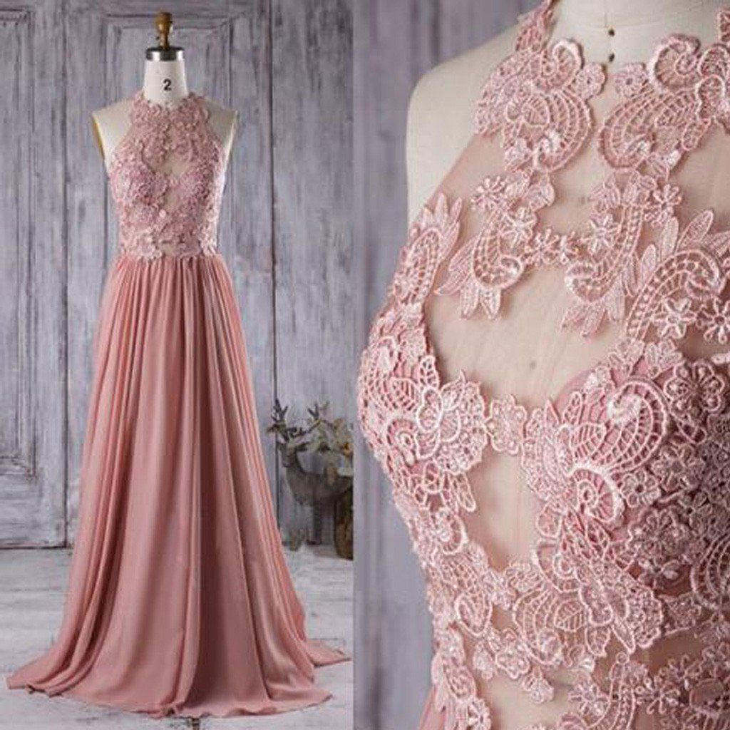 Lace Top See Through Dusty Rose Long A-line Chiffon Prom Bridesmaid ...