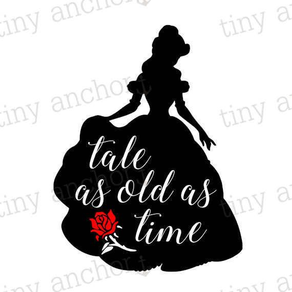 Tale as Old as Time Belle Silhouette quote vinyl wall decal