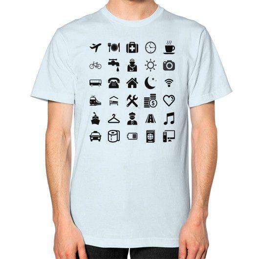 Basic black model Traveler emoticon help for travel Unisex T-Shirt (on man)