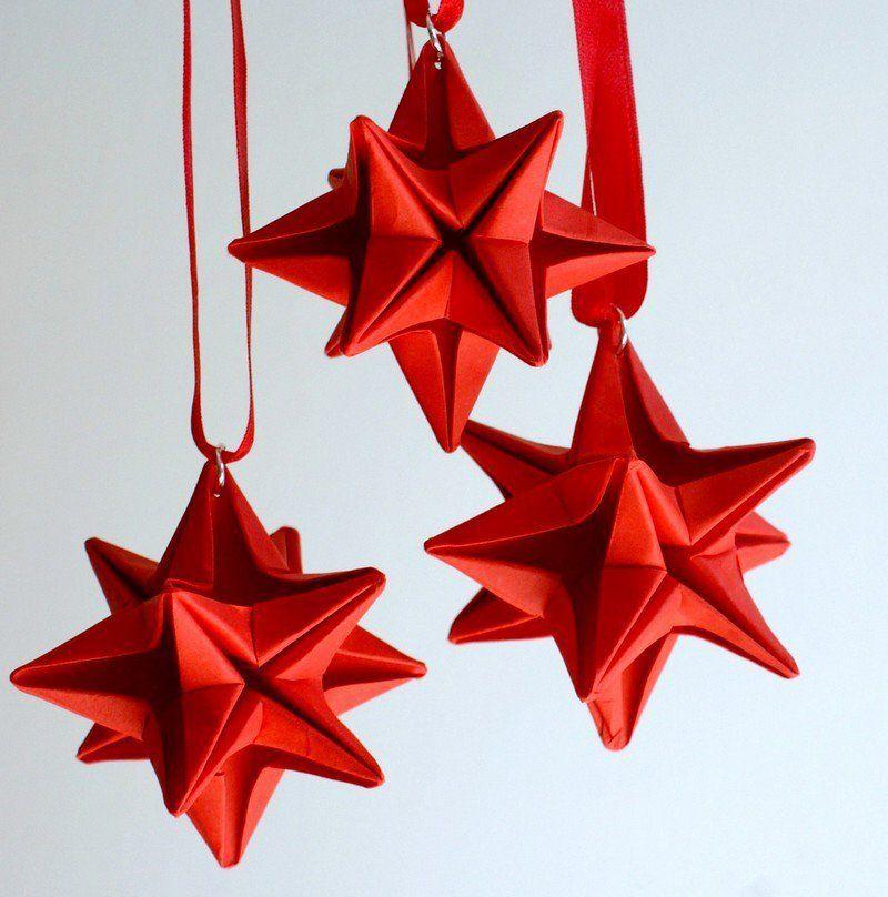 origami origami impressionant toiles rouges pour la dco de noel - Decoration De Noel En Origami