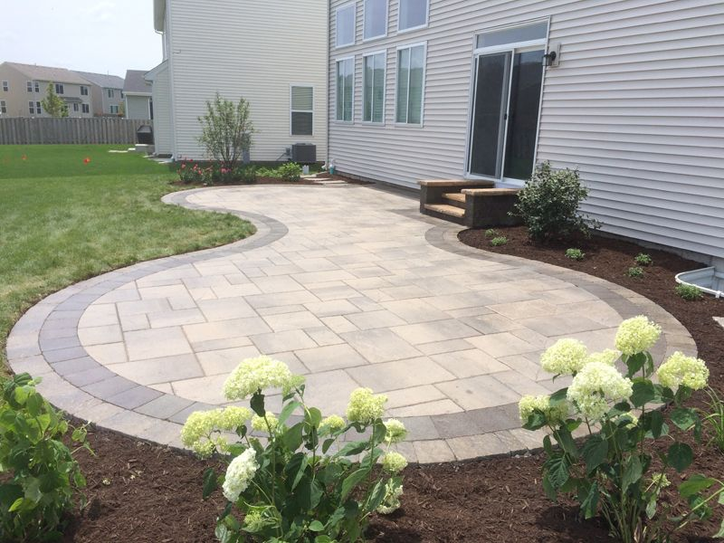 Curved Natural Stone Paver Patio