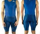Adidas ADIZERO SPRINT SUIT Race Run SpeedSuit Mens Blue M Zip Compression $220 #Fitness