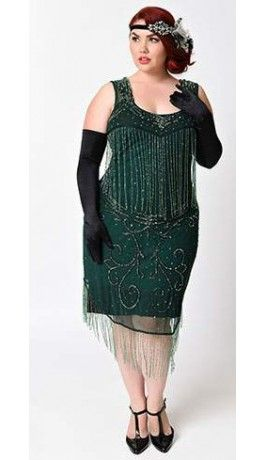 Unique Vintage Plus Size 1920s Style Green Claudette Fringe Beaded ...