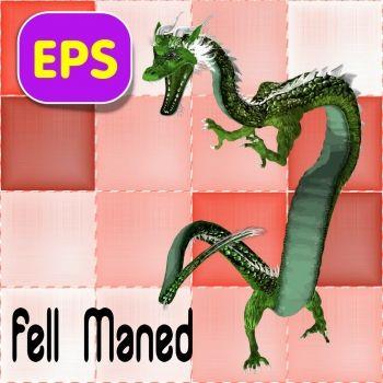 Fell Maned Eastern Dragon .eps vector