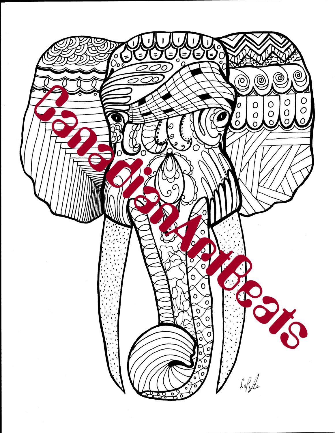 african elephant head coloring page downloadable printable art by