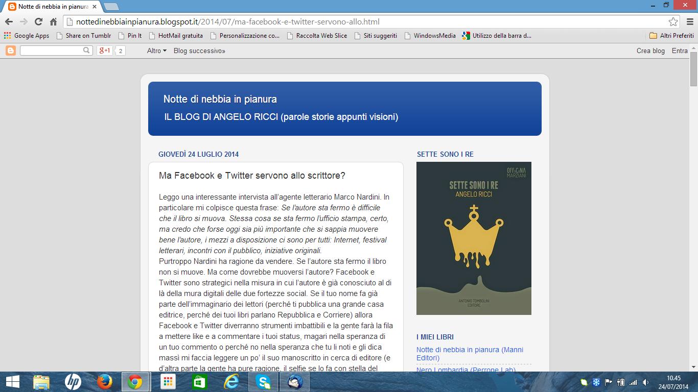 Ma Facebook e Twitter servono allo scrittore? http://nottedinebbiainpianura.blogspot.it/2014/07/ma-facebook-e-twitter-servono-allo.html