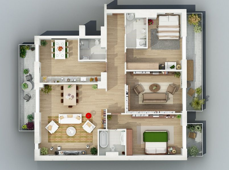 Apartment Designs Shown With Rendered 3D Floor Plans | 1st FPlan ...