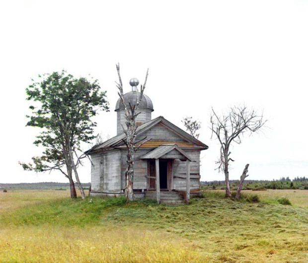 Chapel on the site where the old City of Belozersk stood,  Imperial Russia, 1909