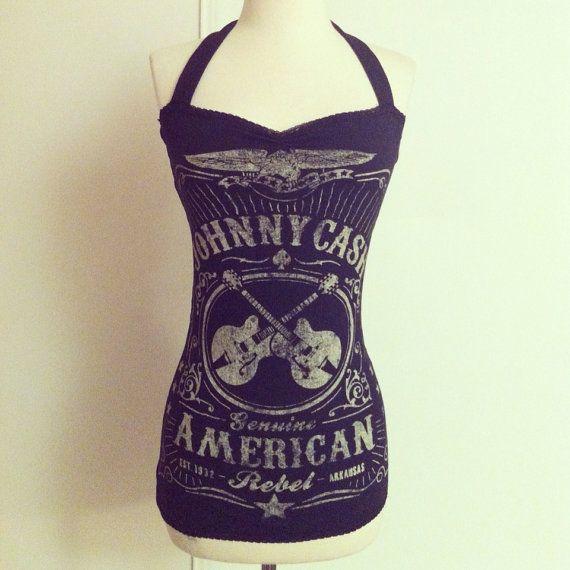 Vintage JOHNNY CASH Black Rockabilly Halter top 58fcda83466e
