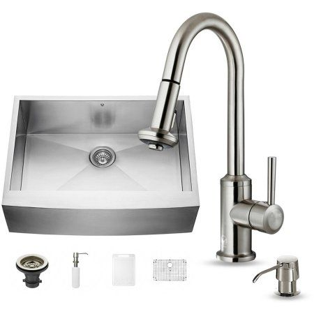 Vigo All In One 30 Inch Farmhouse Stainless Steel Kitchen Sink And