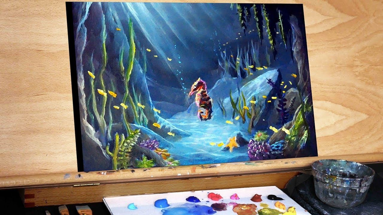 Underwater Seahorse Seascape A Step By Step Painting Tutorial Ryan O Rourke Youtube Abstract Painting Painting Tutorial Underwater Painting
