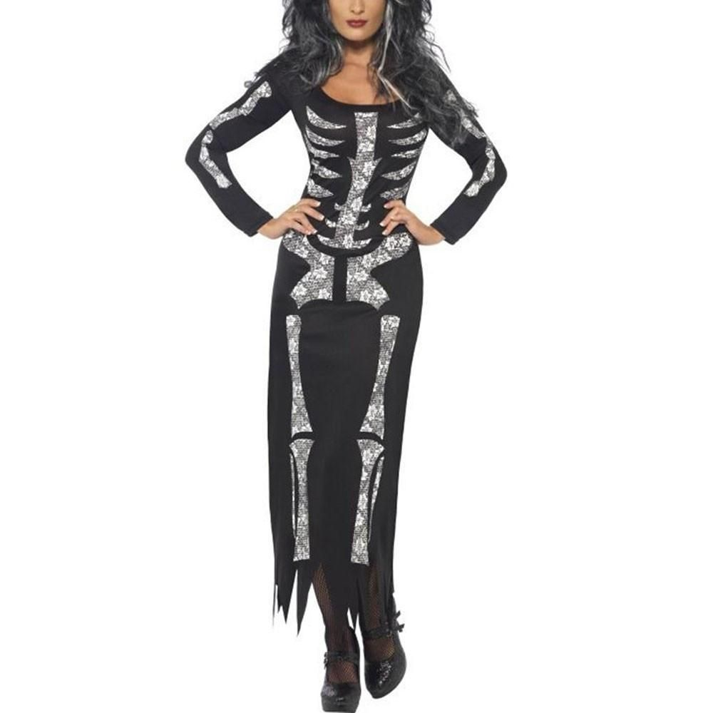 Ghost Festival Skeleton Horror Costume Women Halloween Party Holiday mvn0OwN8