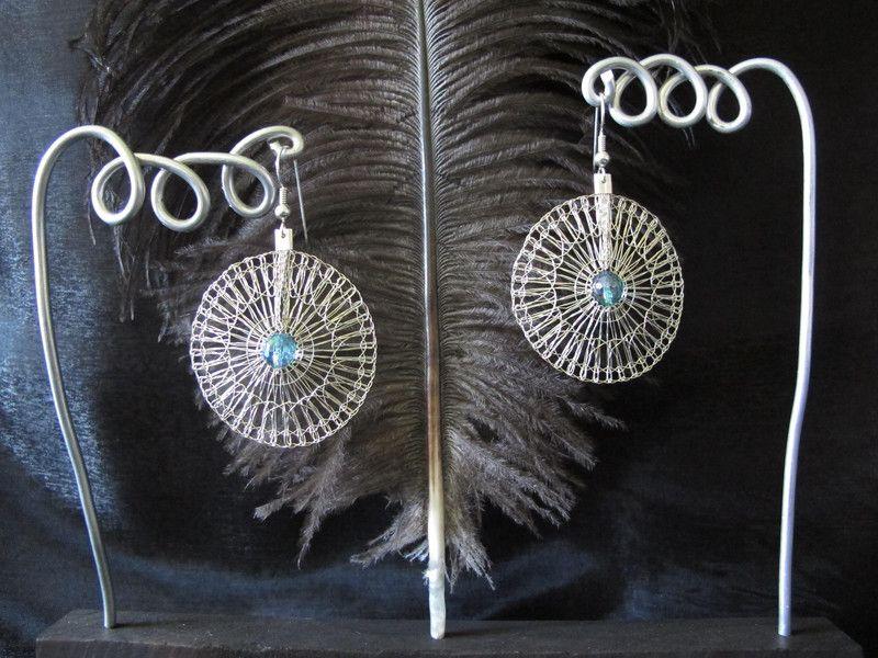 Gekloppelte Ohrringe Silber925 Kreise Mit Aquaaura Ohrringe Kloppeln Aqua Aura