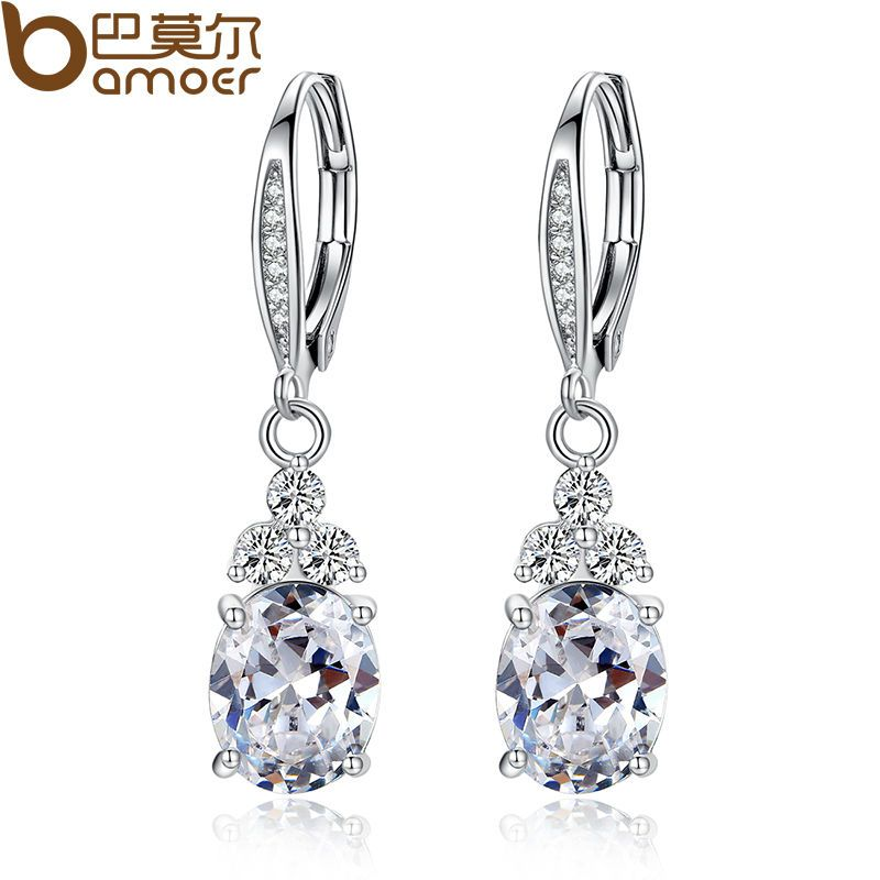 Nehzy 925 Sterling Silver New Woman Fashion Jewelry High Quality Blue Pink White Purple Crystal Zircon Hot Selling Earrings Crystal Drop Earrings Drop Earrings Crystal Earrings