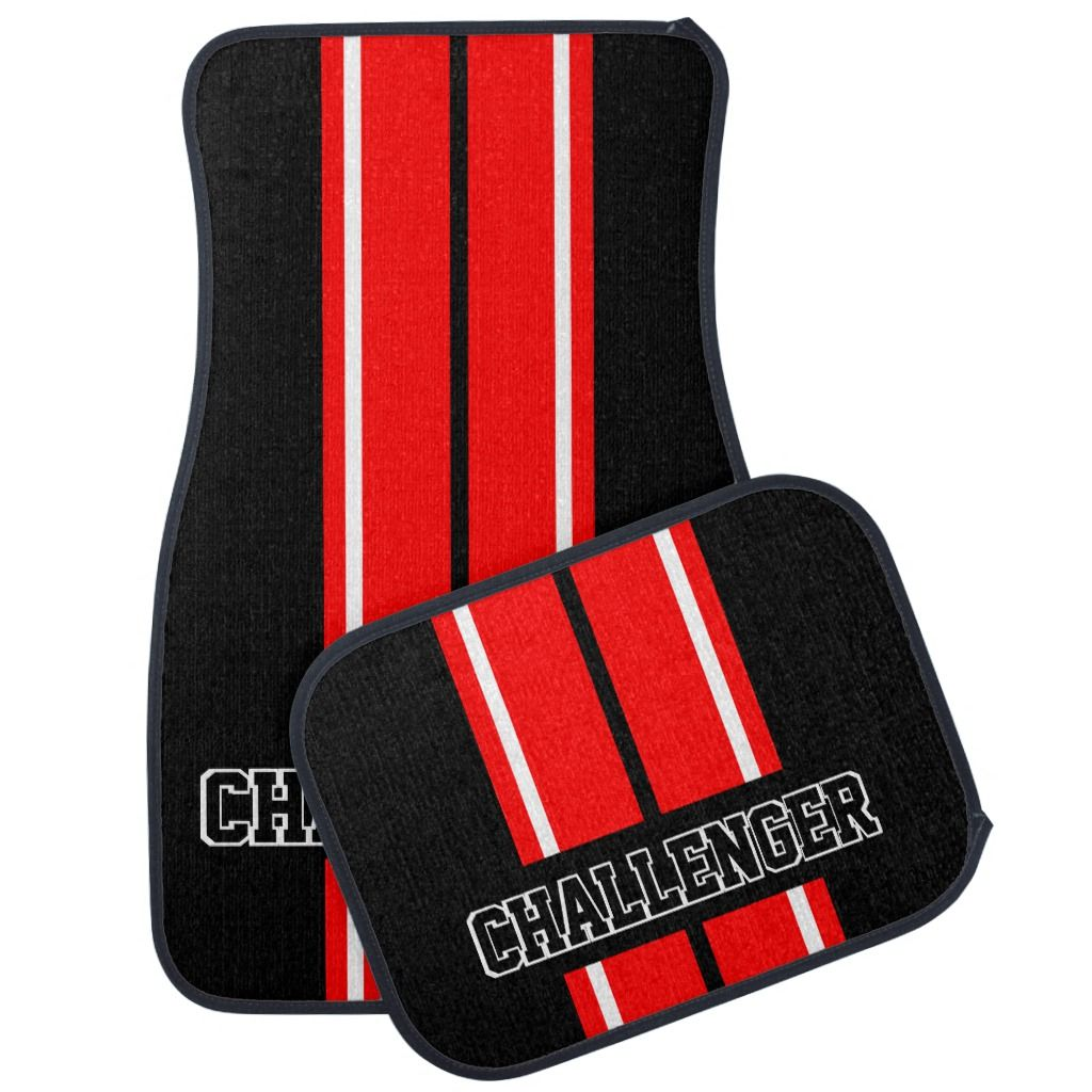 Red & White Double Race Stripes Personalize Car Floor