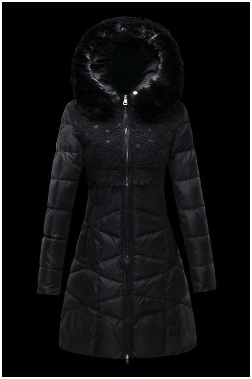 manteau moncler doudoune femme longue capuchon de fourrure noir ... e6bab9ff572