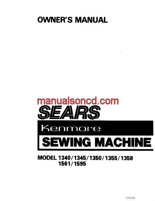 Kenmore 12332 Sewing Machine Instruction Manual 38512332
